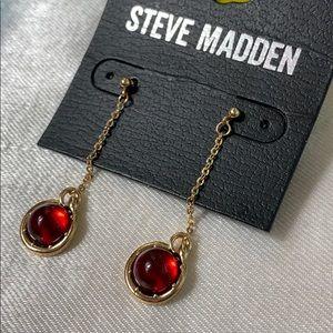 New Steve Madden red stone drop earrings